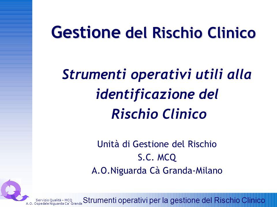 Gestione del Rischio Clinico Strumenti operativi utili alla identificazione del Rischio Clinico Unità di Gestione del Rischio S.C. MCQ A.O.Niguarda Cà