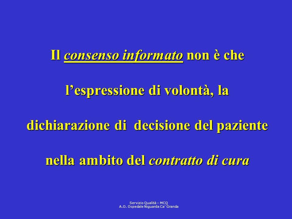 Il consenso informato non è che lespressione di volontà, la dichiarazione di decisione del paziente nella ambito del contratto di cura Servizio Qualit