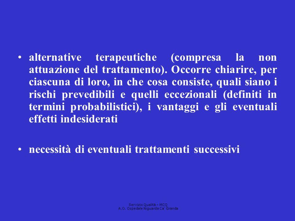 alternative terapeutiche (compresa la non attuazione del trattamento). Occorre chiarire, per ciascuna di loro, in che cosa consiste, quali siano i ris