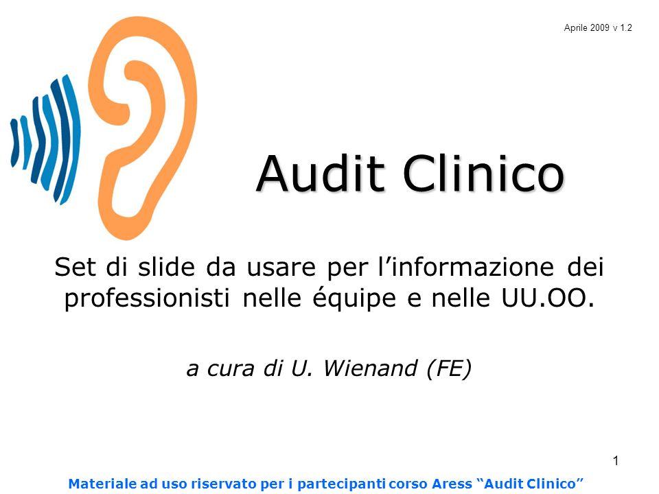 1 Audit Clinico Set di slide da usare per linformazione dei professionisti nelle équipe e nelle UU.OO. a cura di U. Wienand (FE) Aprile 2009 v 1.2 Mat