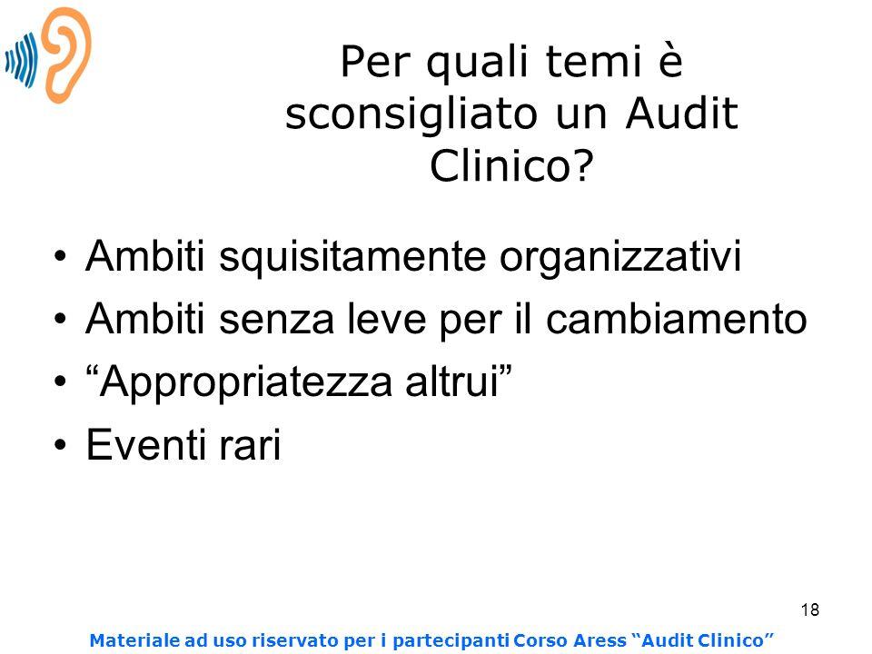 18 Per quali temi è sconsigliato un Audit Clinico? Ambiti squisitamente organizzativi Ambiti senza leve per il cambiamento Appropriatezza altrui Event