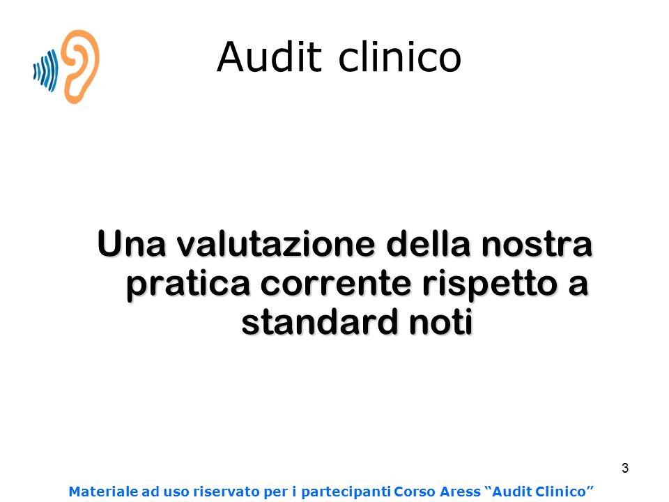 3 Audit clinico Una valutazione della nostra pratica corrente rispetto a standard noti Materiale ad uso riservato per i partecipanti Corso Aress Audit Clinico
