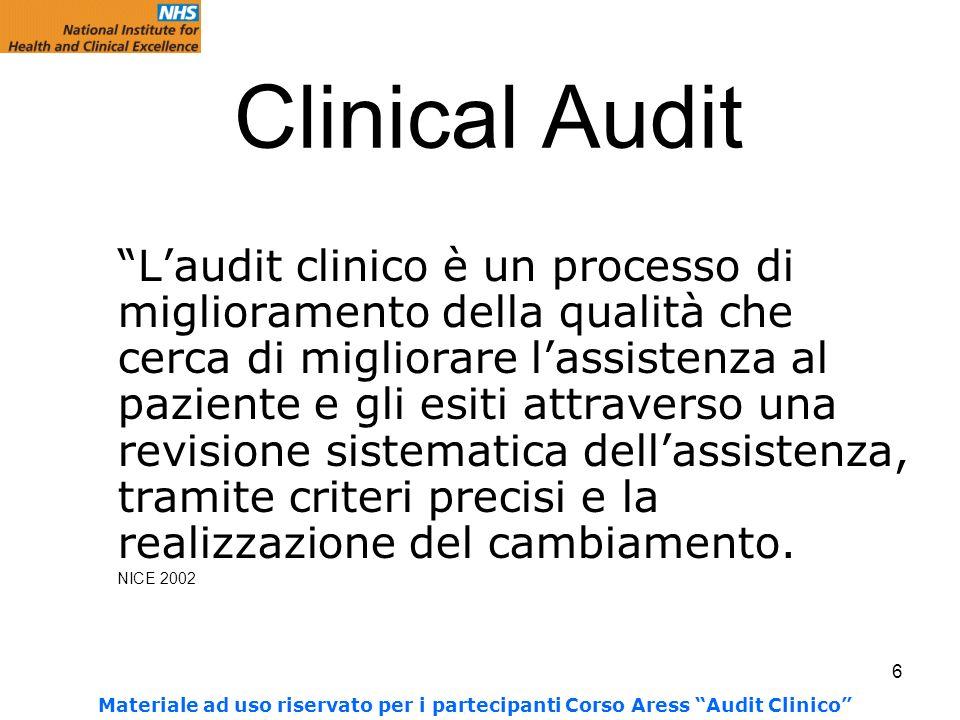 6 Clinical Audit Laudit clinico è un processo di miglioramento della qualità che cerca di migliorare lassistenza al paziente e gli esiti attraverso una revisione sistematica dellassistenza, tramite criteri precisi e la realizzazione del cambiamento.