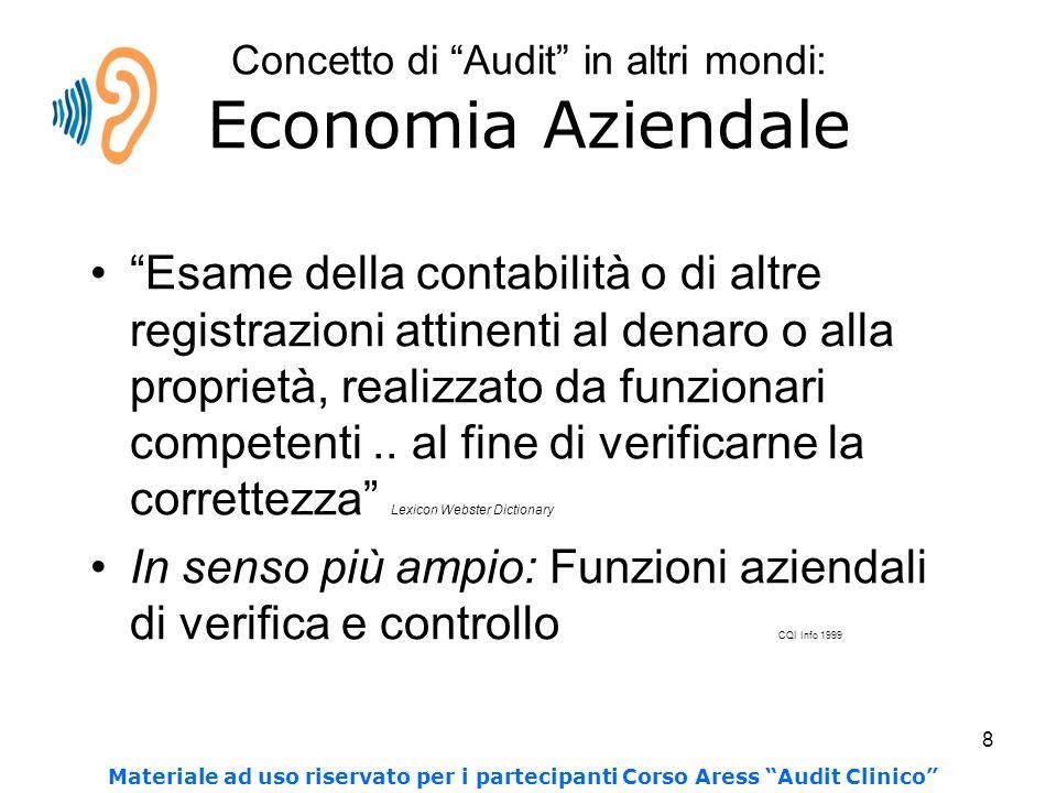 8 Concetto di Audit in altri mondi: Economia Aziendale Esame della contabilità o di altre registrazioni attinenti al denaro o alla proprietà, realizzato da funzionari competenti..