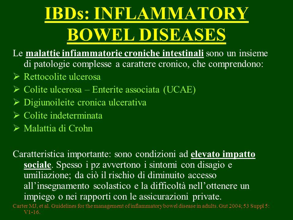 IBDs: INFLAMMATORY BOWEL DISEASES Le malattie infiammatorie croniche intestinali sono un insieme di patologie complesse a carattere cronico, che compr
