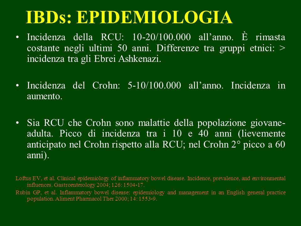 IBDs: EPIDEMIOLOGIA Incidenza della RCU: 10-20/100.000 allanno. È rimasta costante negli ultimi 50 anni. Differenze tra gruppi etnici: > incidenza tra