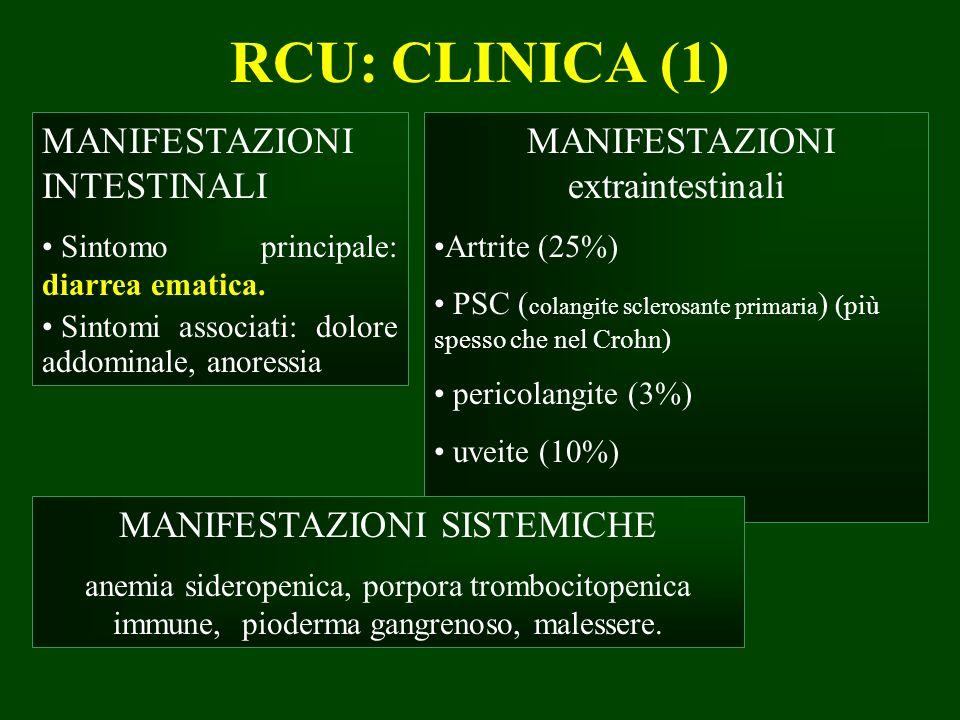 RCU: CLINICA (1) MANIFESTAZIONI INTESTINALI Sintomo principale: diarrea ematica. Sintomi associati: dolore addominale, anoressia MANIFESTAZIONI extrai