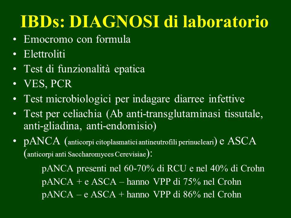 IBDs: DIAGNOSI di laboratorio Emocromo con formula Elettroliti Test di funzionalità epatica VES, PCR Test microbiologici per indagare diarree infettiv