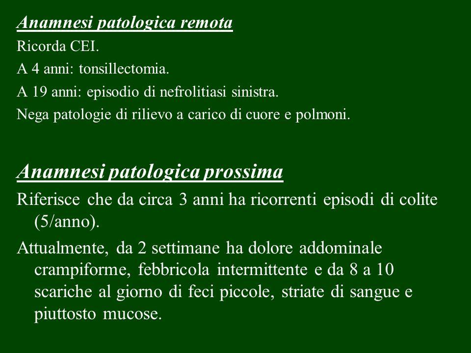 Anamnesi patologica remota Ricorda CEI. A 4 anni: tonsillectomia. A 19 anni: episodio di nefrolitiasi sinistra. Nega patologie di rilievo a carico di