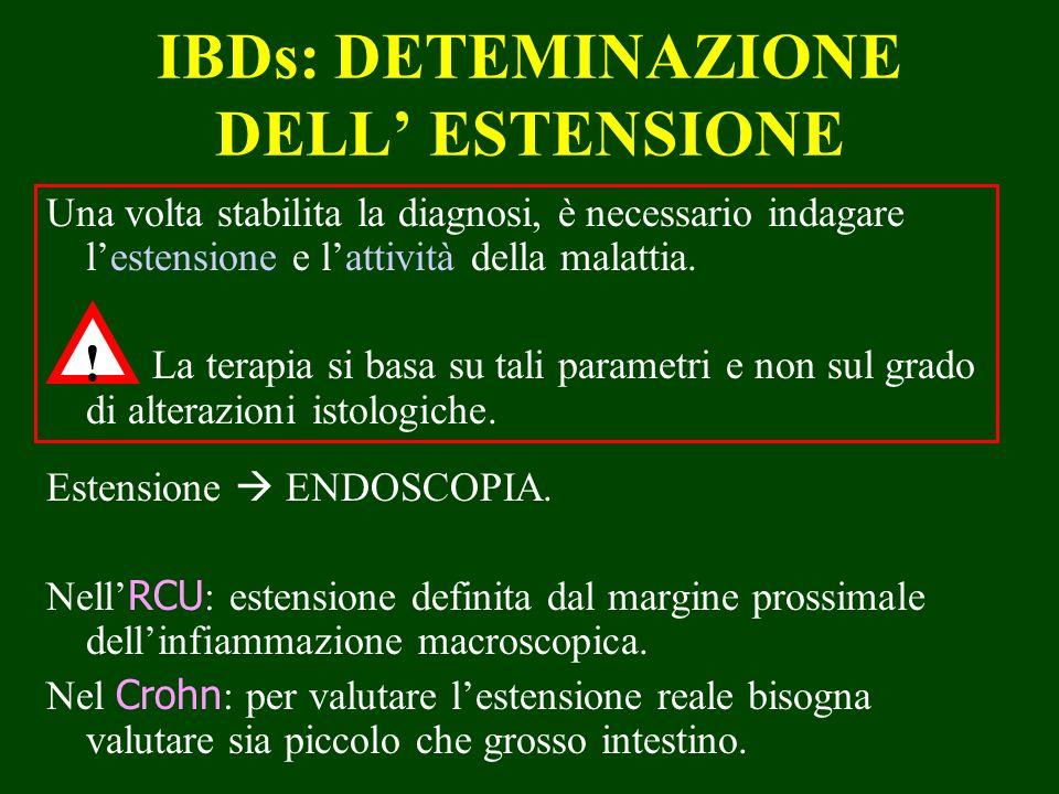 IBDs: DETEMINAZIONE DELL ESTENSIONE Una volta stabilita la diagnosi, è necessario indagare lestensione e lattività della malattia. La terapia si basa