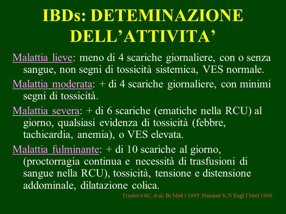 IBDs: DETEMINAZIONE DELLATTIVITA Malattia lieve: meno di 4 scariche giornaliere, con o senza sangue, non segni di tossicità sistemica, VES normale. Ma
