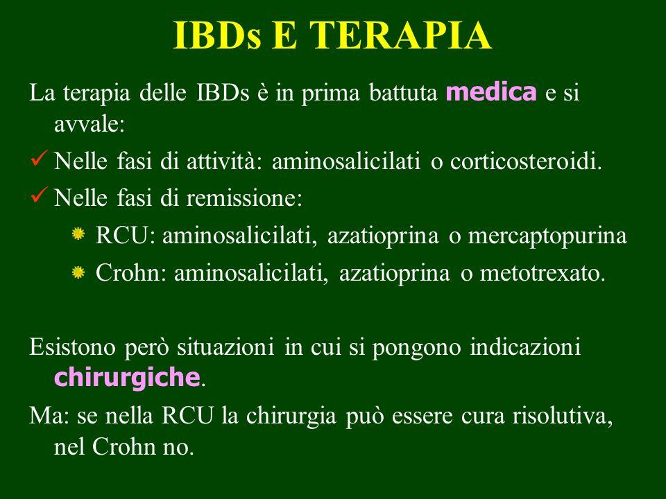 IBDs E TERAPIA La terapia delle IBDs è in prima battuta medica e si avvale: Nelle fasi di attività: aminosalicilati o corticosteroidi. Nelle fasi di r