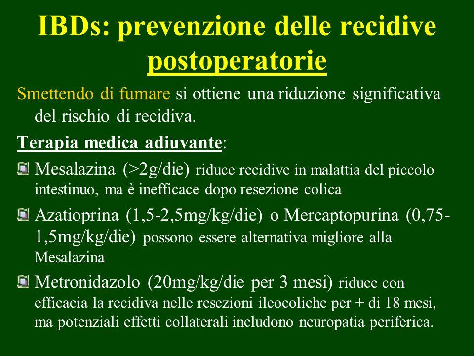 IBDs: prevenzione delle recidive postoperatorie Smettendo di fumare si ottiene una riduzione significativa del rischio di recidiva. Terapia medica adi