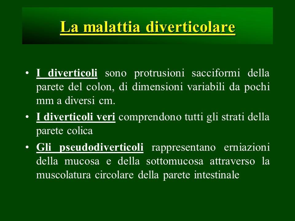 La malattia diverticolare I diverticoli sono protrusioni sacciformi della parete del colon, di dimensioni variabili da pochi mm a diversi cm. I divert