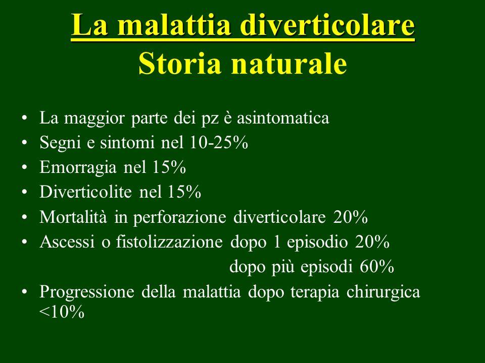 La malattia diverticolare La malattia diverticolare Storia naturale La maggior parte dei pz è asintomatica Segni e sintomi nel 10-25% Emorragia nel 15