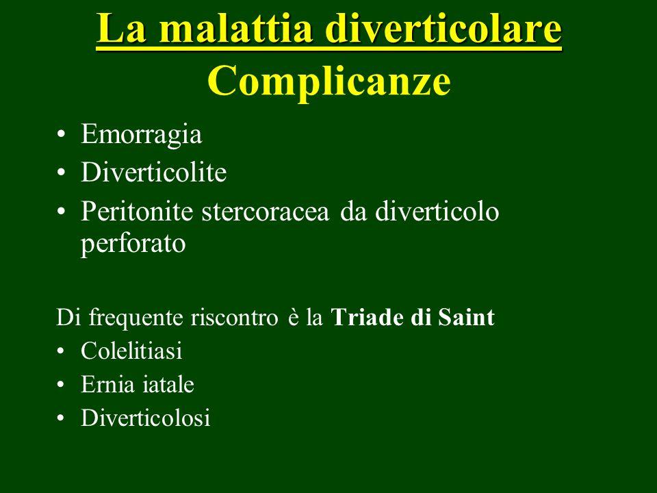 La malattia diverticolare La malattia diverticolare Complicanze Emorragia Diverticolite Peritonite stercoracea da diverticolo perforato Di frequente r