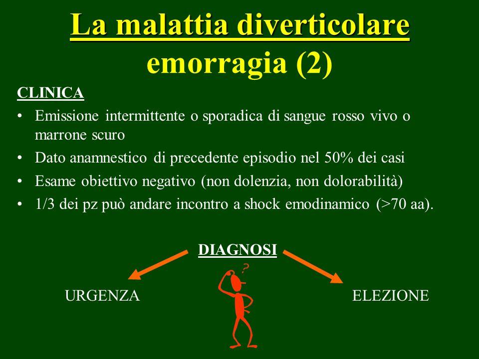 La malattia diverticolare La malattia diverticolare emorragia (2) CLINICA Emissione intermittente o sporadica di sangue rosso vivo o marrone scuro Dat