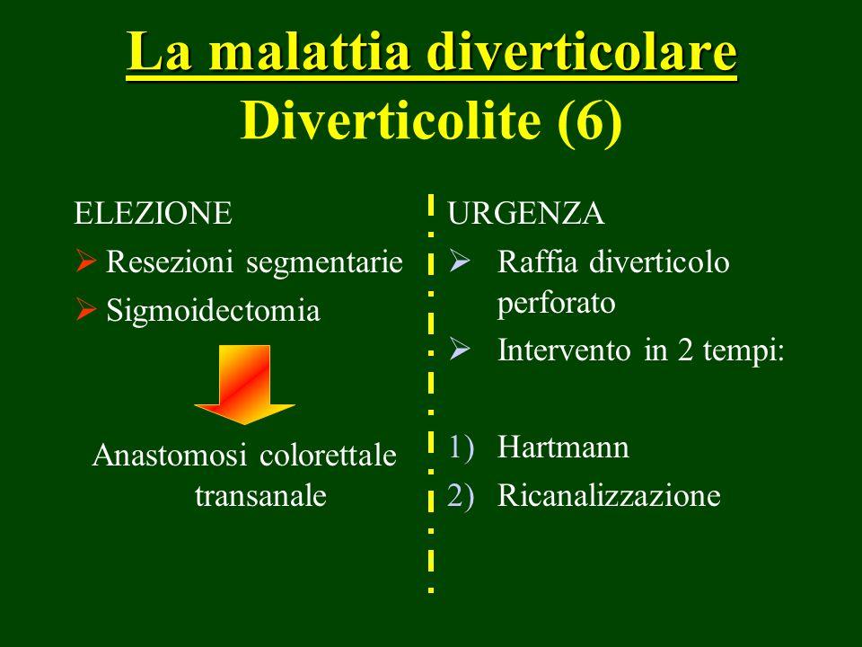 La malattia diverticolare La malattia diverticolare Diverticolite (6) ELEZIONE Resezioni segmentarie Sigmoidectomia Anastomosi colorettale transanale