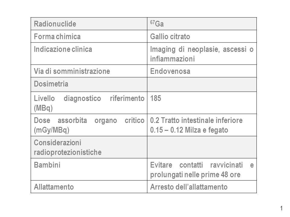1 Radionuclide 67 Ga Forma chimicaGallio citrato Indicazione clinicaImaging di neoplasie, ascessi o infiammazioni Via di somministrazioneEndovenosa Dosimetria Livello diagnostico riferimento (MBq) 185 Dose assorbita organo critico (mGy/MBq) 0.2 Tratto intestinale inferiore 0.15 – 0.12 Milza e fegato Considerazioni radioprotezionistiche BambiniEvitare contatti ravvicinati e prolungati nelle prime 48 ore AllattamentoArresto dellallattamento