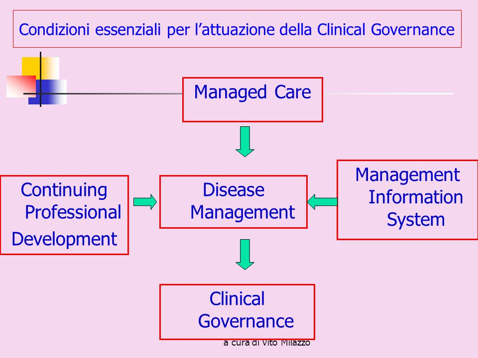 a cura di Vito Milazzo Managed Care Clinical Governance Management Information System Continuing Professional Development Disease Management Condizion