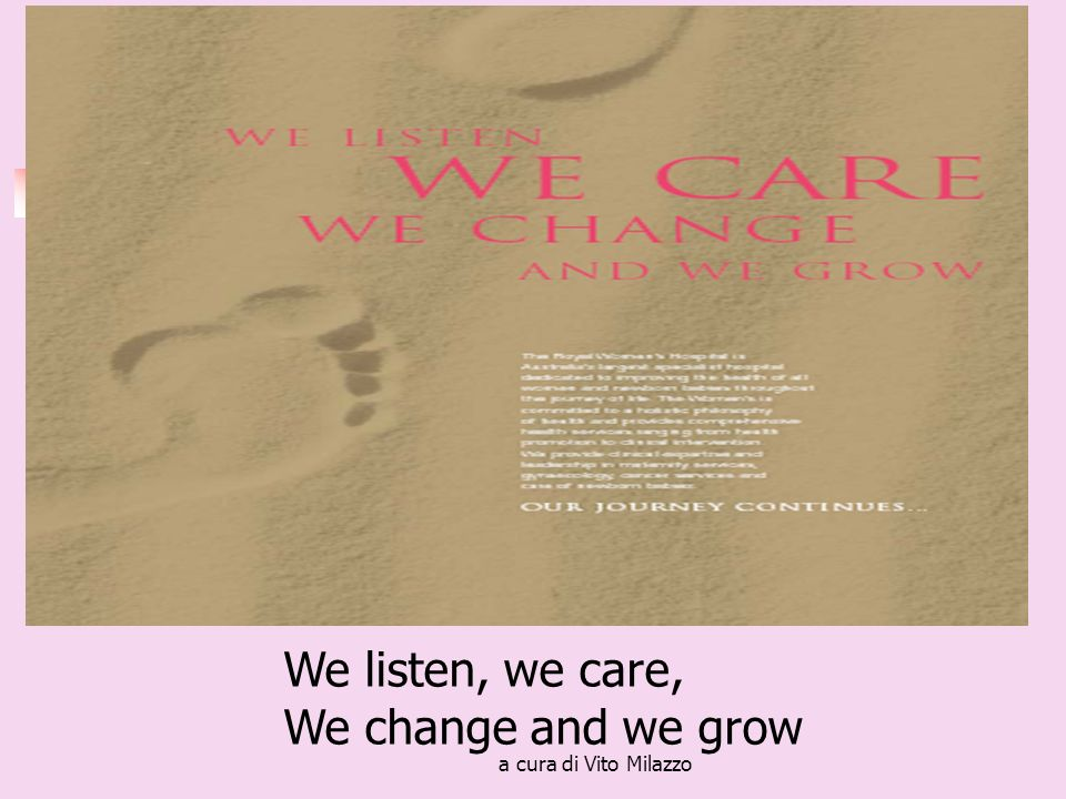 a cura di Vito Milazzo We listen, we care, We change and we grow
