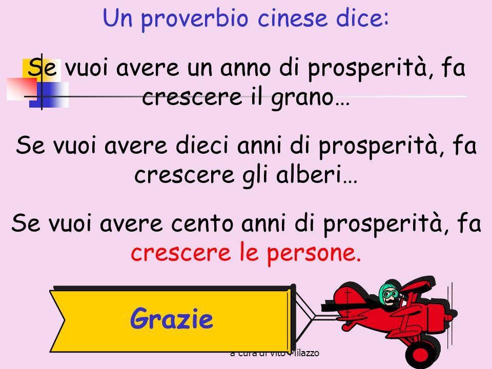 a cura di Vito Milazzo Un proverbio cinese dice: Se vuoi avere un anno di prosperità, fa crescere il grano… Se vuoi avere dieci anni di prosperità, fa crescere gli alberi… Se vuoi avere cento anni di prosperità, fa crescere le persone.