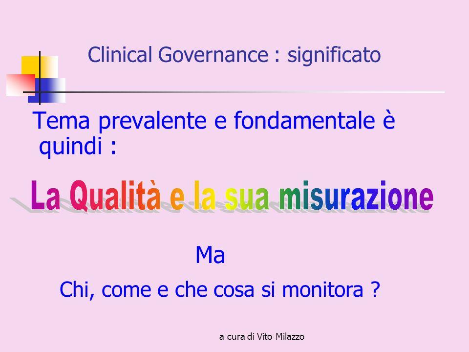 a cura di Vito Milazzo Tema prevalente e fondamentale è quindi : Clinical Governance : significato Ma Chi, come e che cosa si monitora ?