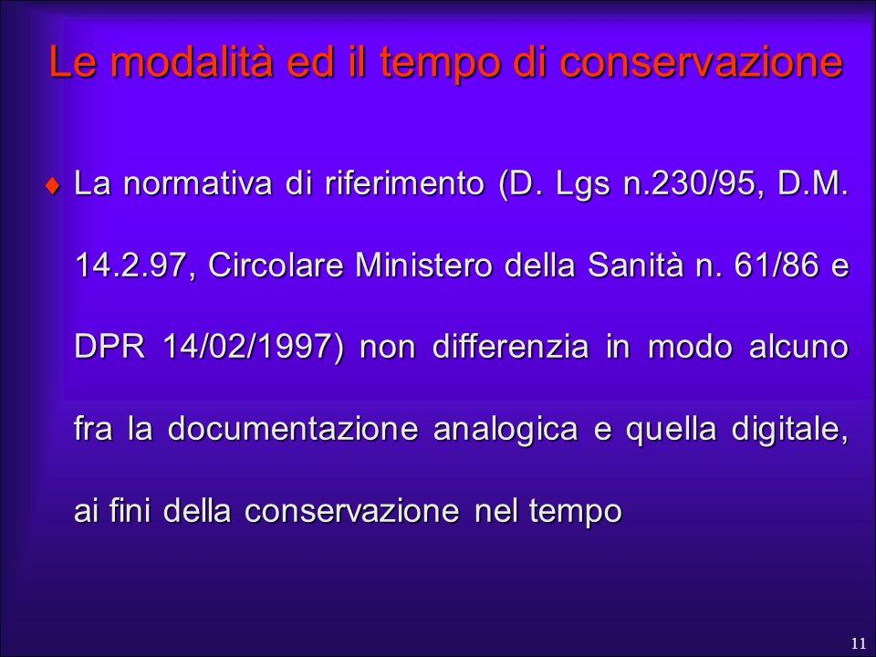 11 Le modalità ed il tempo di conservazione La normativa di riferimento (D. Lgs n.230/95, D.M. 14.2.97, Circolare Ministero della Sanità n. 61/86 e DP