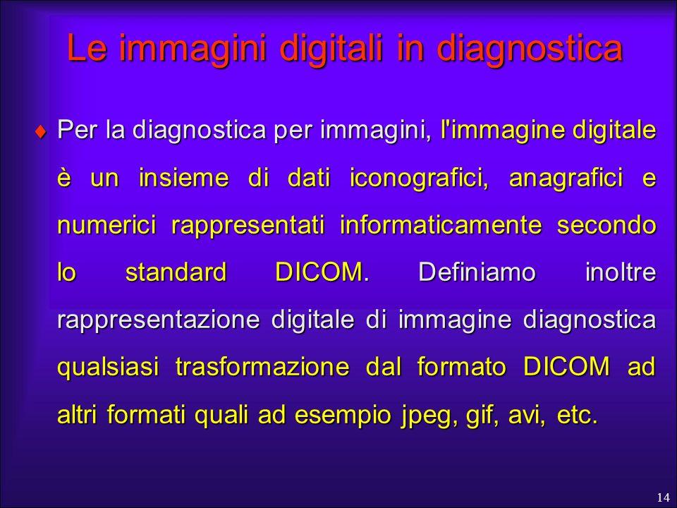 14 Le immagini digitali in diagnostica Per la diagnostica per immagini, l'immagine digitale è un insieme di dati iconografici, anagrafici e numerici r