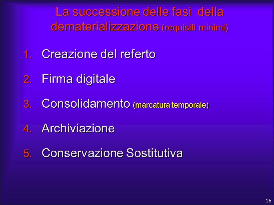 16 La successione delle fasi della dematerializzazione (requisiti minimi) 1. Creazione del referto 2. Firma digitale 3. Consolidamento (marcatura temp