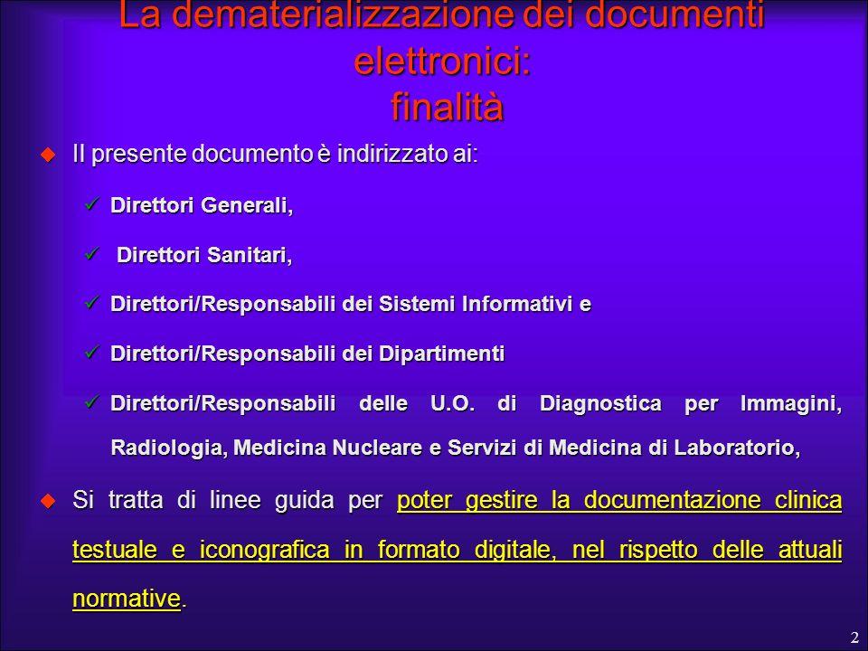 2 La dematerializzazione dei documenti elettronici: finalità Il presente documento è indirizzato ai: Il presente documento è indirizzato ai: Direttori