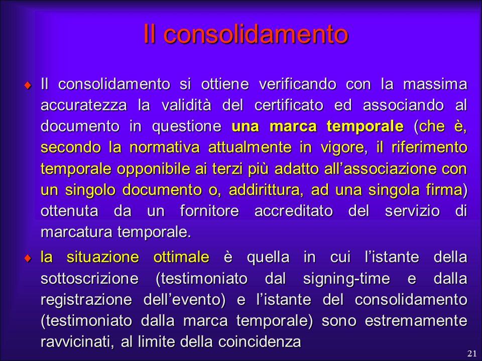 21 Il consolidamento Il consolidamento si ottiene verificando con la massima accuratezza la validità del certificato ed associando al documento in que