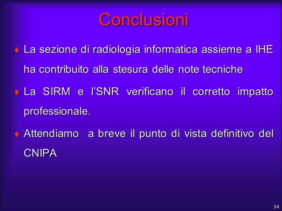 34 Conclusioni La sezione di radiologia informatica assieme a IHE ha contribuito alla stesura delle note tecniche La sezione di radiologia informatica