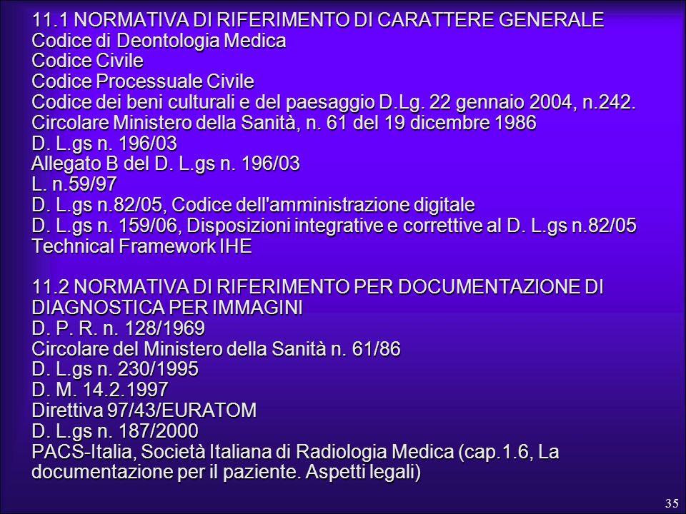 35 11.1 NORMATIVA DI RIFERIMENTO DI CARATTERE GENERALE Codice di Deontologia Medica Codice Civile Codice Processuale Civile Codice dei beni culturali