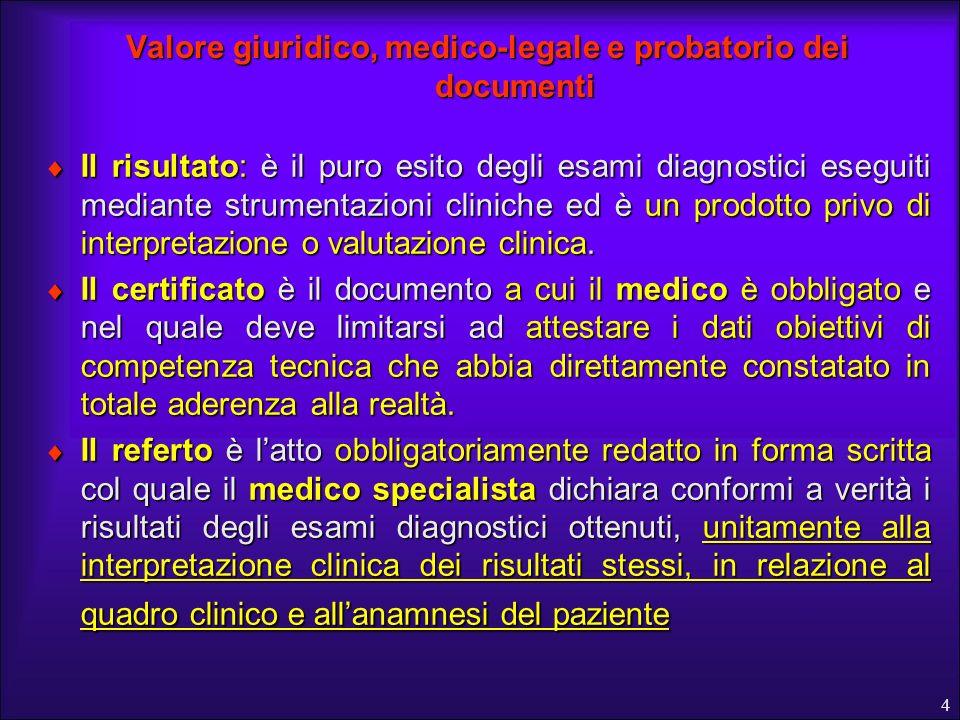 4 Valore giuridico, medico-legale e probatorio dei documenti Il risultato: è il puro esito degli esami diagnostici eseguiti mediante strumentazioni cl