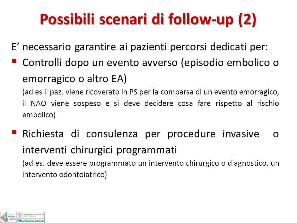 E necessario garantire ai pazienti percorsi dedicati per: Controlli dopo un evento avverso (episodio embolico o emorragico o altro EA) (ad es il paz.