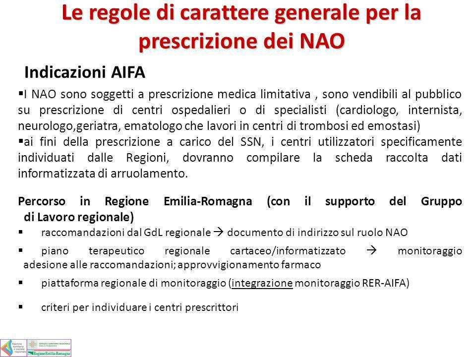 Le regole di carattere generale per la prescrizione dei NAO Indicazioni AIFA I NAO sono soggetti a prescrizione medica limitativa, sono vendibili al p