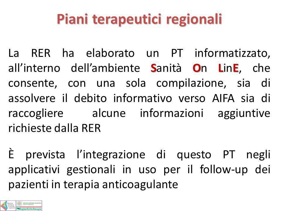 Piani terapeutici regionali SOLE La RER ha elaborato un PT informatizzato, allinterno dellambiente Sanità On LinE, che consente, con una sola compilaz