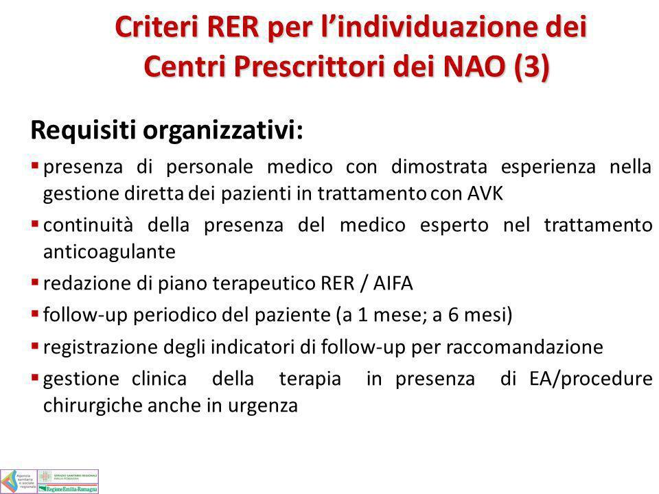 Requisiti organizzativi: presenza di personale medico con dimostrata esperienza nella gestione diretta dei pazienti in trattamento con AVK continuità