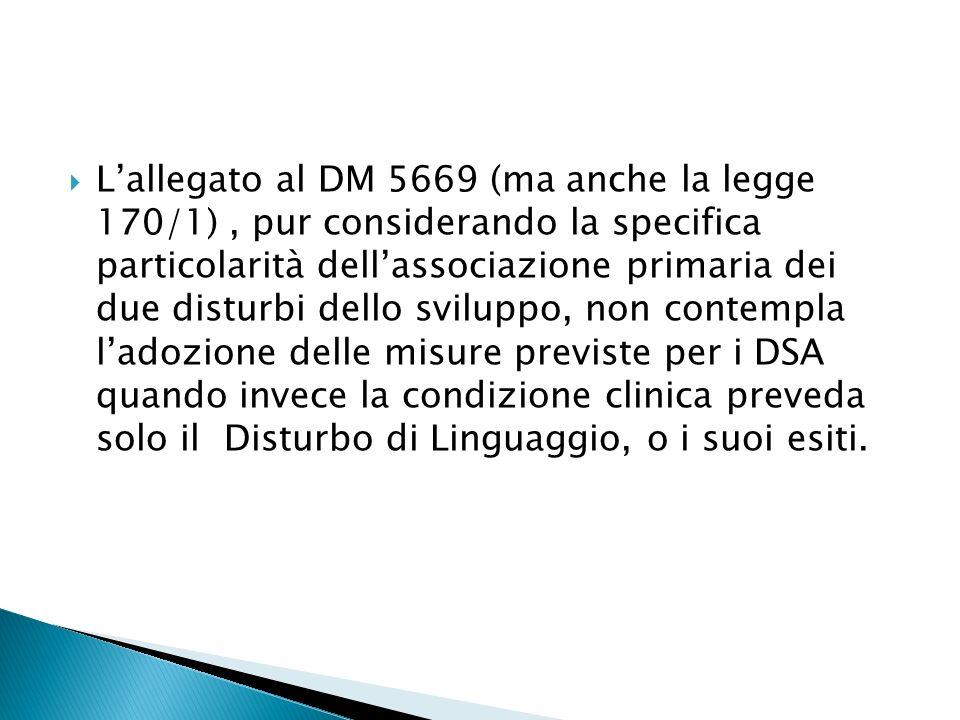 Lallegato al DM 5669 (ma anche la legge 170/1), pur considerando la specifica particolarità dellassociazione primaria dei due disturbi dello sviluppo, non contempla ladozione delle misure previste per i DSA quando invece la condizione clinica preveda solo il Disturbo di Linguaggio, o i suoi esiti.