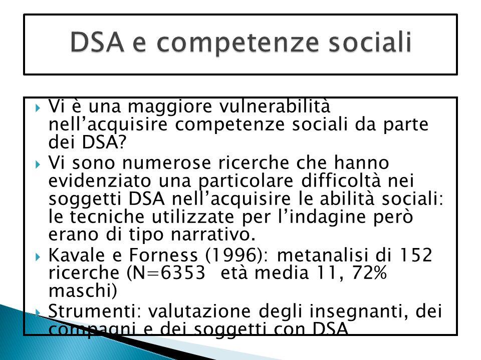 Vi è una maggiore vulnerabilità nellacquisire competenze sociali da parte dei DSA.