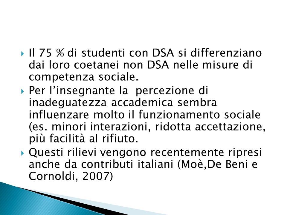 Il 75 % di studenti con DSA si differenziano dai loro coetanei non DSA nelle misure di competenza sociale.