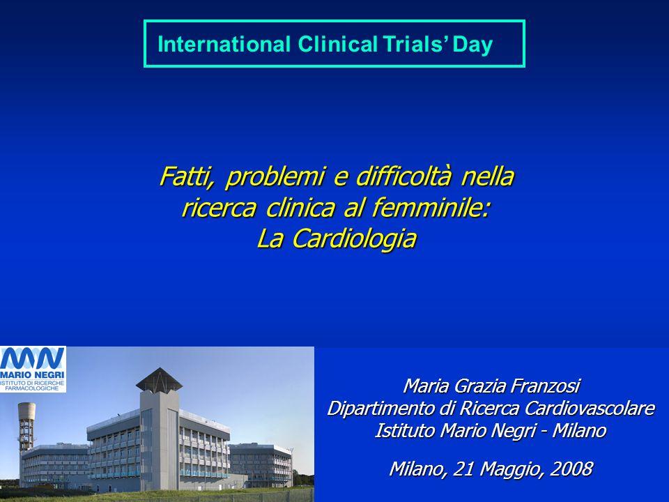 ___________________ 21 Maggio 2008 ______________________________ www.marionegri.it Fatti, problemi e difficoltà nella ricerca clinica al femminile: L
