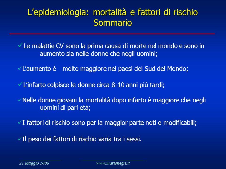 ___________________ 21 Maggio 2008 ______________________________ www.marionegri.it Lepidemiologia: mortalità e fattori di rischio Sommario Le malatti