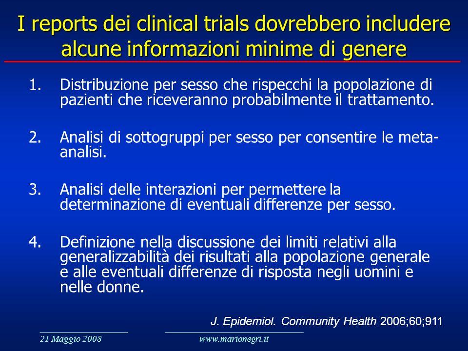 ___________________ 21 Maggio 2008 ______________________________ www.marionegri.it I reports dei clinical trials dovrebbero includere alcune informaz
