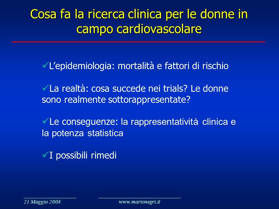 ___________________ 21 Maggio 2008 ______________________________ www.marionegri.it Cosa fa la ricerca clinica per le donne in campo cardiovascolare L