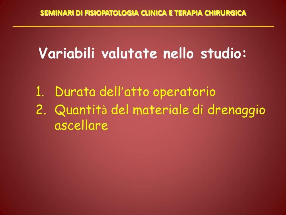 Variabili valutate nello studio: 1.Durata dell atto operatorio 2.Quantit à del materiale di drenaggio ascellare SEMINARI DI FISIOPATOLOGIA CLINICA E T