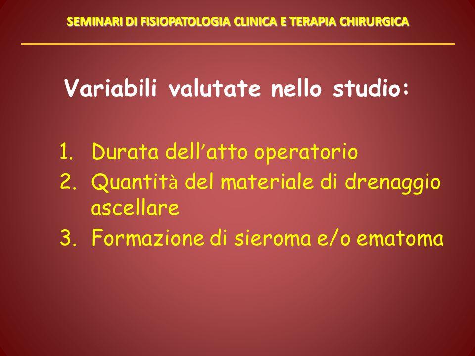 Variabili valutate nello studio: 1.Durata dell atto operatorio 2.Quantit à del materiale di drenaggio ascellare 3.Formazione di sieroma e/o ematoma SE