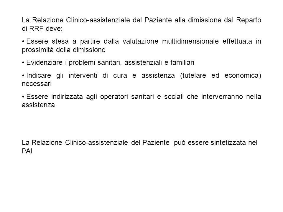La Relazione Clinico-assistenziale del Paziente alla dimissione dal Reparto di RRF deve: Essere stesa a partire dalla valutazione multidimensionale ef
