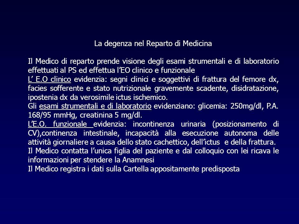La degenza nel Reparto di Medicina Il Medico di reparto prende visione degli esami strumentali e di laboratorio effettuati al PS ed effettua lEO clini